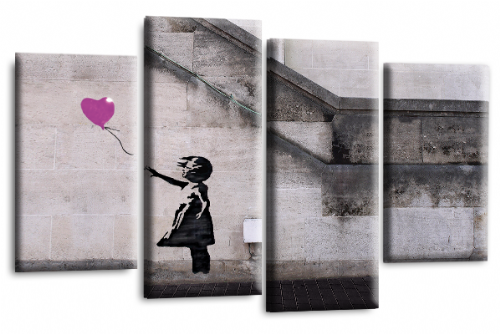 Banksy Art Balloon Girl Love Peace Purple Grey Canvas Wall Print
